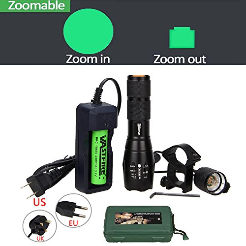 VASTFIRE 350 yard Zoom Focus Green Light Flashlight Set for Predator Coyote Hog Pig Varmint Deer Night Hunting with Remote Pressure Switch Picatinny Mount to Rifle Barrel Scope AR 15 – DiZiSports Store