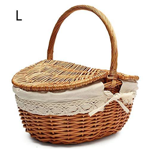 Hand Made Wicker Picnic Basket with Lid Food Bread Camping Picnic Basket Hamper Woven Bamboo Fruit Storage Basket,M Burlywood