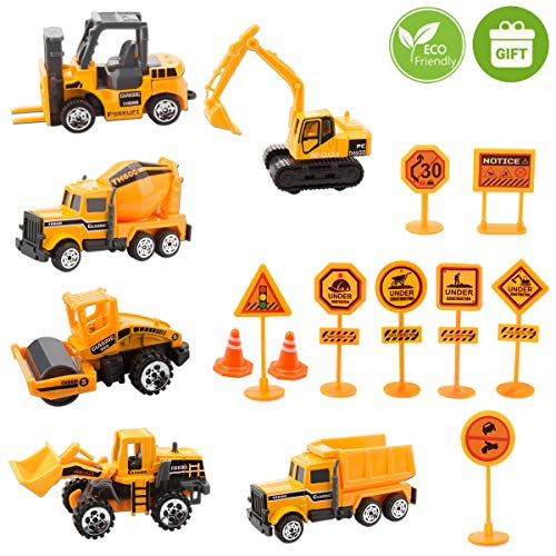 Unihoh Kids Construction Toys - Kids Toy Construction Trucks, 6 Pcs diecast Construction Vehicles Toddlers for Boys Small Kid with 10 Traffic Sign, Mini Engineering TrucksSet for Age 3 Years and Up