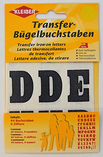 Original Kleiber Transfer iron-on letters black-coloured, Content: 44 letters & 9 numbers (Iron On Name Labels For Clothes Uk)