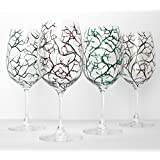 The Four Seasons Wine Glasses - 4 Piece Hand Painted Glassware Collection, Gift for Her, Wine Lover
