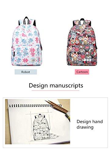 Sacs Design Robot Rouge étudiant Sacs dos Livre Impression Femme étanches occasionnel à unique Cartoon Teens Winnerbag Red ZwqxpC8C
