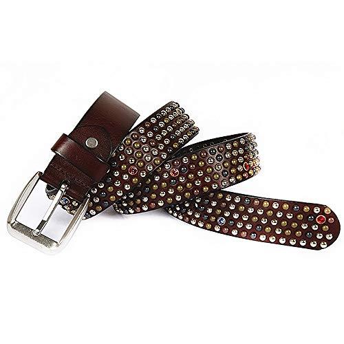 Dig dog bone Unisex Leather Belt Crystal and Colored Rivet for Men Women Adults Gothic Belts Handmade Steampunk Studded Punk Rock Belt Waistband (Color : Coffe, Size : 115cm)