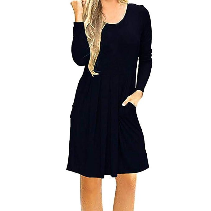 Vestido para Mujer Mujer ,BBestseller Mujer Vestido Blusa de Solapa Casual para Mujer Vestido Largo de Manga Larga con Escote en O y Escote en V Camiseta ...