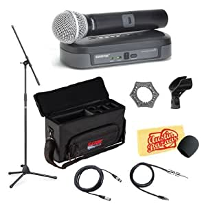 shure pg24 pg58 performance gear wireless handheld microphone system pack with case. Black Bedroom Furniture Sets. Home Design Ideas