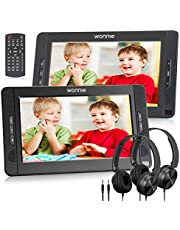 """WONNIE 10.5"""" Dual Portable DVD Player for Car, Headrest Kids CD Players with Two Headphones Built-in 5 Hours Rechargeable Battery, Support USB/SD/MMC,Regions Free,AV Out & in ( 1 Player+1 Monitor )"""