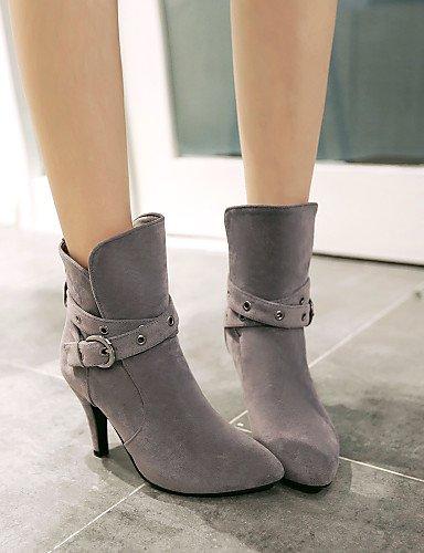 Uk6 Cn39 us8 Beige Botas Zapatos Negro Casual Stiletto Cn36 us6 Gray Puntiagudos Tacón Gris Mujer Semicuero Xzz Eu39 Eu36 Gray Uk4 De ZxqBaBS