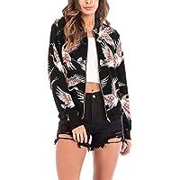 vermers Clearance Women Coat Cardigan, Women's Fashion Bird Print Blouse Baseball Coat Zipper Jacket