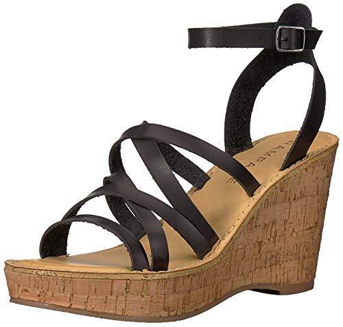 a Strappy Platform Cork Wedge Sandal, Black Burnish 6 M US ()