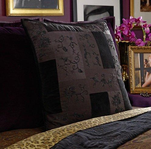 Lauren By Ralph Lauren Quilted and Beaded Black Bohemian European Pillow Sham - Euro Black Frame Square