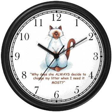 Siamese Cat Cartoon or Comic – JP Animal Wall Clock by WatchBuddy Timepieces Black Frame