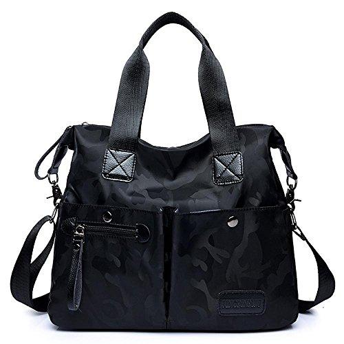de Penao 34cmx13cmx30cm solo camuflaje tamaño messenger Bolso moda señoras ocio nylon Black bandolera 44qrP5