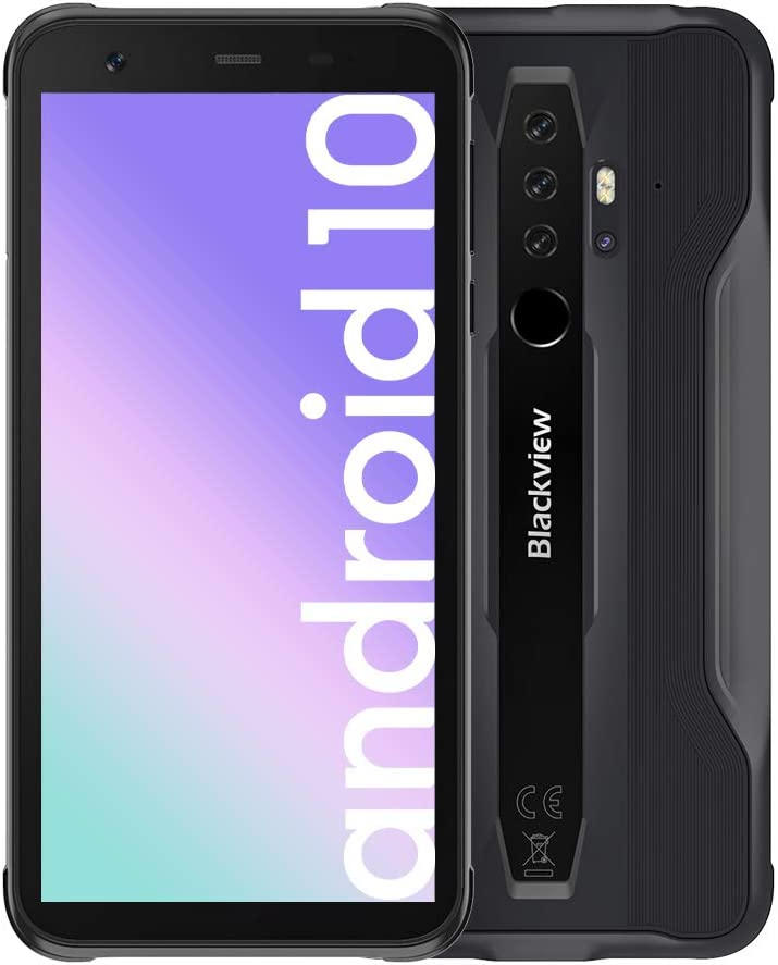 Blackview BV6300Pro (2020) Android 10 Rugged Cell Phones, 16MP HDR Quad Rear Cameras, 6GB+128GB IP68/69K Smartphone, 4380mAh Battery Wireless Charge 11.6mm Slim Body 4G - Black