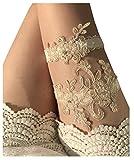 YuRong Wedding Garter Set Beaded Lace Garter Set Bridal Lace Garter Wedding Gift G01 (Champagne)