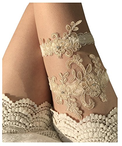 YuRong Wedding Garter Set Beaded Lace Garter Set Bridal Lace Garter Wedding Gift G01 (Champagne)