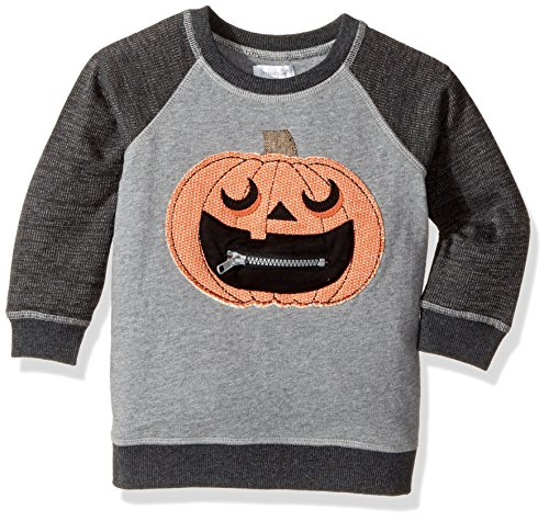 Mud Pie  Baby Boy's Halloween Pumpkin Sweatshirt (Infant/Toddler) Gray (Halloween Kids Sweatshirt)