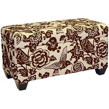 Skyline Furniture Walnut Hill Storage Bench In Canary Earth Fabric