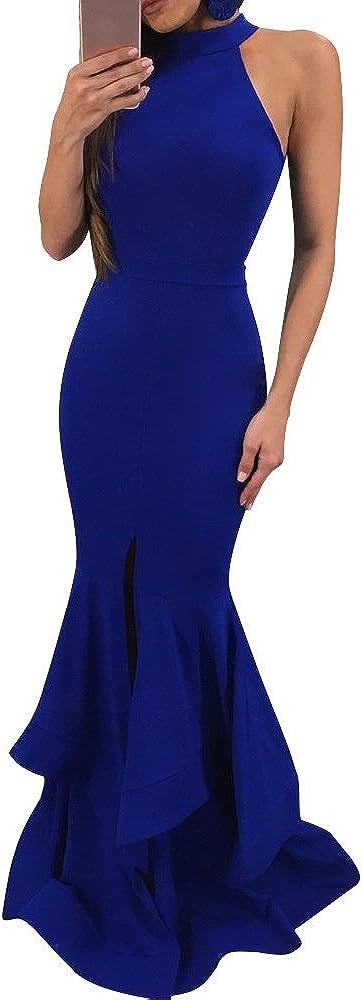 GOBLES Womens Elegant Ruffles Sleeveless Split Evening Mermaid Maxi Dress