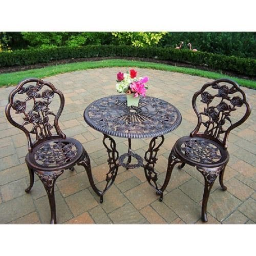 Oakland 3 Piece Bistro Patio Set Includes a Round Table a...