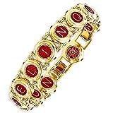Kennedy Gold-Plated Enameled Swarovski Crystal 7in W/1in Ext Castellani Bracelet