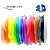 3D Pen Filament Refills - WESOO 20 Packs 1.75mm PLA 100Meters (16ft Each) 20 Different Colors Fun Pack