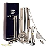 Barfame Cocktail Shaker Set 304 Stainless Steel Bartender Kit: 18oz & 28oz Boston Shaker, Double Jigger, 8''Muddler, 2 Liquor Pourers, 12'' Mixing Spoon, Bar Strainer, Cocktail Mesh Strainer (Silver)