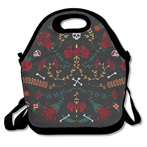 LHQ's Halloween Folk Sugar Skull Neoprene Lunch Picnic Bag Insulated Lunch Box Waterproof Lunch Tote with Zipper Strap for Women Kids Boys Girls and Men