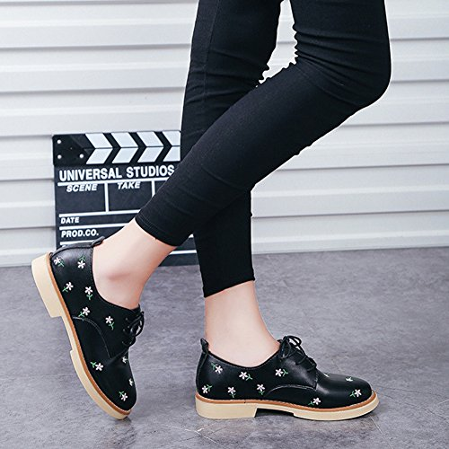 Fashion Wingtip Flats T up JULY Lace Shoes Printing Oxfords Round Black Toe Shoes Womens Western Eg1Rgwq