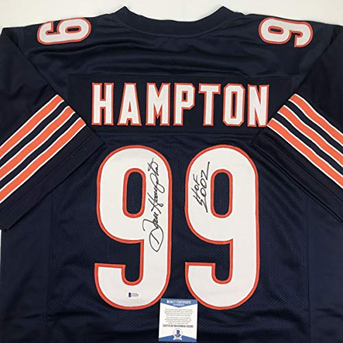 Autographed/Signed Dan Hampton HOF 2002 Chicago Blue Football Jersey Beckett BAS COA