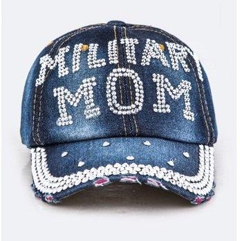 Gem MILITARY Stud Crystal MOM Embellished Fashion Denim Cap (Studs Military Cap)