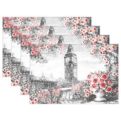 Jereee Oil Painting London Big Ben Roses Set of 4 Placemats Heat-Resistant Table Mat Washable Stain Resistant Anti-Skid Polyester Place Mats for Kitchen Dining -