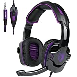 New Updated Gaming Headphones,SADES SA930 3.5mm Stereo Sound Wired Professional Computer Gaming Headset with Microphone,Noise Isolating Volume Control for Pc/Mac/Ps4/Phone/Table(Black Purple)