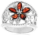 Platinum Plated Sterling Silver Garnet with Diamond-Accent Flower Ring