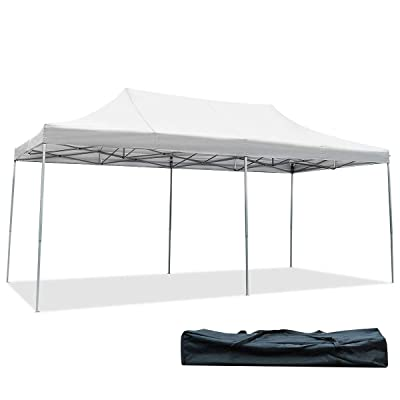 Tangkula 10' X20' Carport Tent Pop Up, Commercial Instant Canopy with Tent Peg, Waterproof Wedding Canopy with Wind Rope, Outdoor Shelter Pavilion for Parties Camping, Gazebo with Carry Bag (White) : Garden & Outdoor