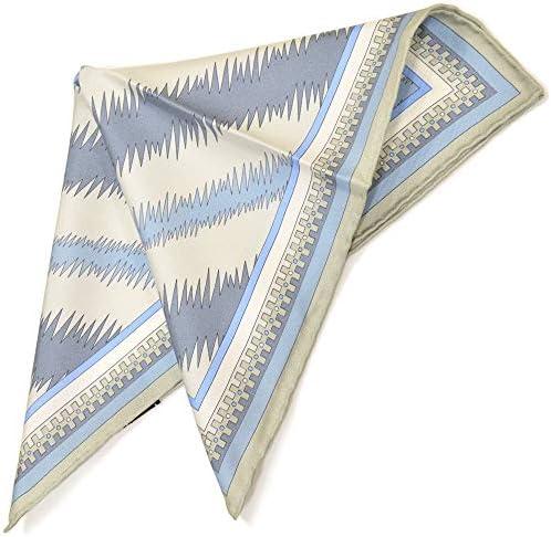 (エミリオプッチ)ポケットチーフ メンズ プッチ柄シルクポケットチーフ(サイズ32×32cm)eep19w126 ブルー