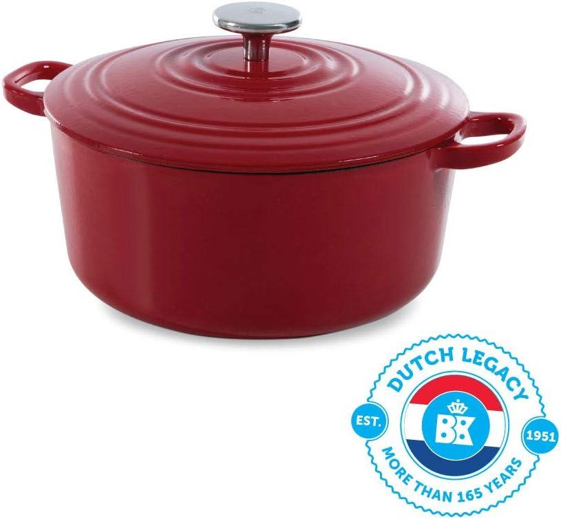 BK Cookware H6072.524 BK Bourgogne Dutch - Tapa con anillas de goteo (24 cm, hierro fundido, esmaltado, apta para inducción/horno/lavavajillas), color rojo