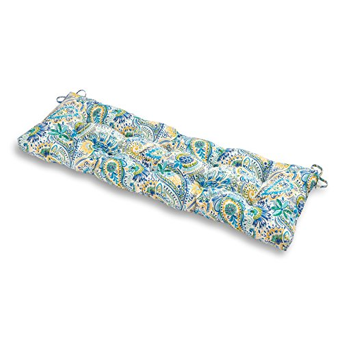 - Greendale Home Fashions Outdoor 51-inch Bench Cushion in Painted Paisley, Baltic