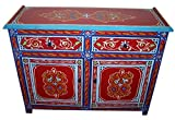 Moroccan Furniture Handmade Painted Wood Armoire with Double Doors Red