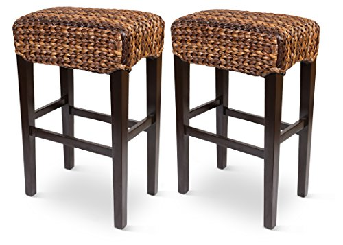 Bird Rock Hand Woven Seagrass Backless Barstool (Bar Height) - Set of 2 - Mahogany Wood Frame - Fully Assembled (Bar Stools Wicker Indoor)