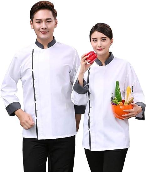 AXIN Camisa de Cocina para Unisex Camiseta Cocina Chaqueta de Chef Cocinero Manga Larga Verano Ropa de Cocina,L: Amazon.es: Deportes y aire libre