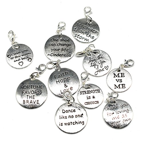10PCS 10 Words Antique Silver Clip-on Charms Collection, Vintage Jewelry Supply Lot, Wholesale C23 from JewelrySupply