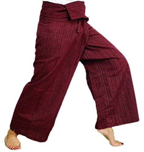 (Striped - Red).!!. Thai Fisherman Pants Cotton 100% Traditional Tailoring Style Yoga Pants , Relax Pants , Clothes Thai - Stores Duluth Mall