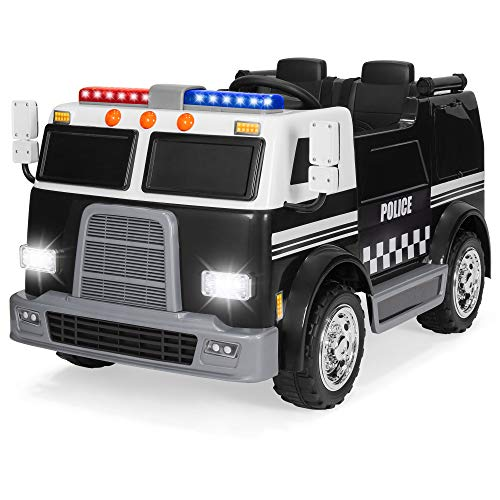 Best Choice Products 12V 2.4MPH 2-Speed Kids Police Ride On Truck Toy w/ Remote Control, USB Port, Lights, Siren