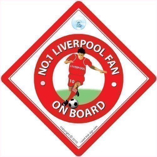 No. 1 Liverpool ventilador de coche con texto en inglés, diseño ...