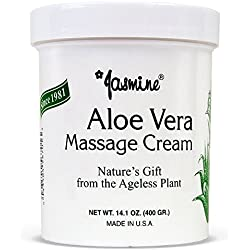 Jasmine Aloe Vera Massage Cream. Keep Your Face and Body Fresh and Soft with Anti-Aging Therapy Cream. Have Deeply Moisturized and Nutrition on Your Skin. Organic Aloe Vera Extract. [400 g/14.1 Oz]