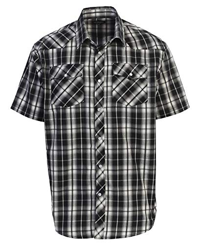 - Gioberti Men's Plaid Western Shirt, Black Gradient, X Large