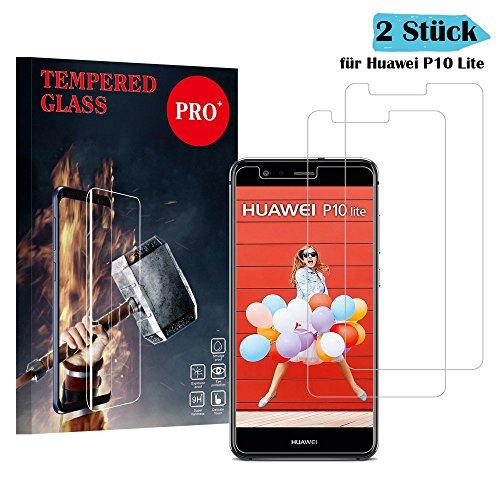 Huawei P10 Lite Panzerglas Schutzfolie, Qechen Hochwertiger 2.5D temperierter Film [2 Stück] [9H Härtegrad] [Ultra Klar] [Anti Kratzen] [Bubble-frei] [Einfache Installation] Displayschutzfolie Panzerglasfolie für Huawei P10 Lite