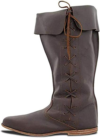 Mens Flat Heel Boots Soft Leather Comfortable Boots Shoes Medieval Retro Festival Boots Large Size 36-48 Men Boots