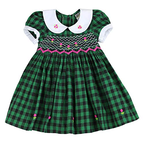 - Infant and Toddlers Soft Gingham Hand Smocked Dresses   Eliza Shay in Darkest Green 3T