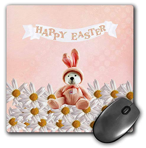 3dRose Beverly Turner Easter Design and Photography - Bear Dressed in Bunny Costume Sitting on Daisies, Happy Easter, Peach - Mousepad -